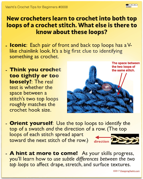 Beginner Crochet tip: two top loops